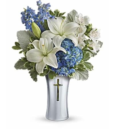 Tender Treasures-Silver Vase with Cross