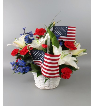 Red, White & Blue Basket Arrangement with flags
