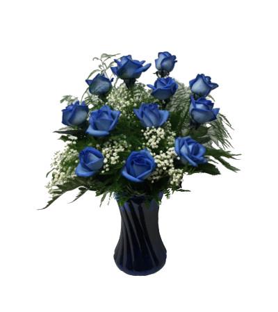 12 Blue Roses Arranged in a Vase