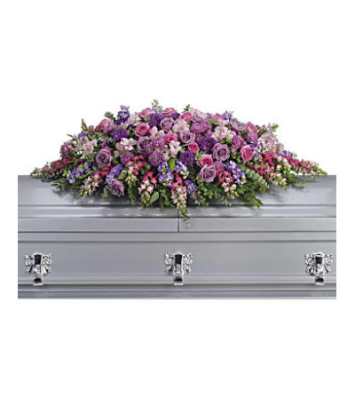 A Lavender Tribute Casket Spray