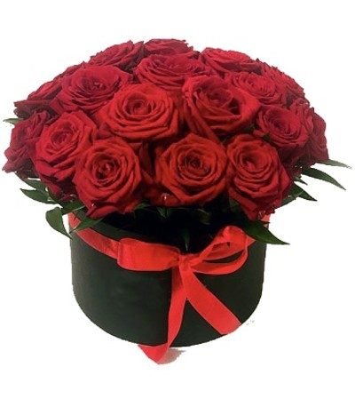 Luxe Hat Box Red Rose