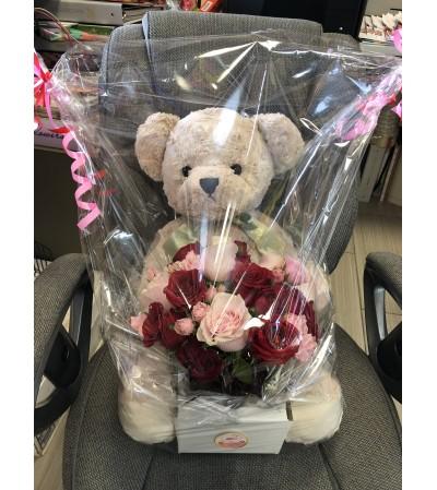Teddy Bear and Flower Bouquet
