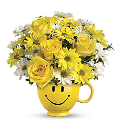 Smile Face Be Happy Bouquet with Roses