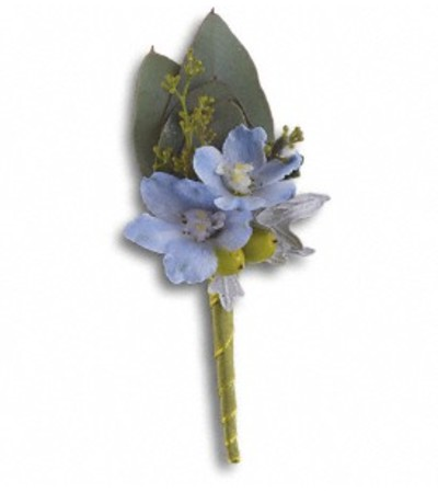 The Hero's Blue boutonniere