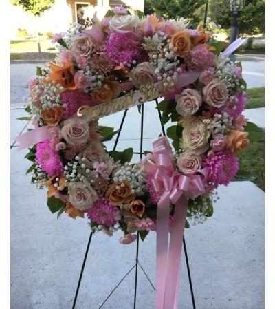 A Sympathy Wreath in Rich Pastels