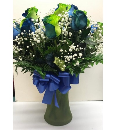 Specialty Roses - One Dozen Lime Sapphire Arrangement
