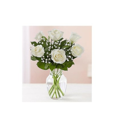 1/2 DOZEN WHITE ROSES IN VASE WITH GREENS AND FILLER