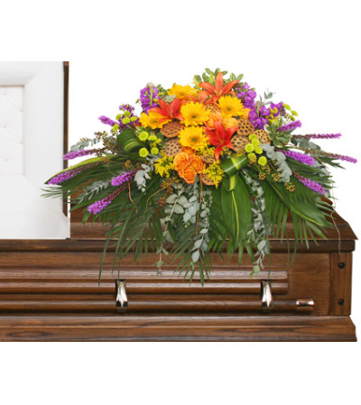 RADIANT MEDLEY CASKET SPRAY Funeral Flowers - FSN