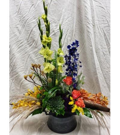 FALL TONED SYMPATHY FLOWERS