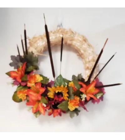 Fall Straw Wreath - Permanent Botanical(Silk)