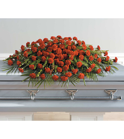 Full Couch Red Carnation Casket Spay