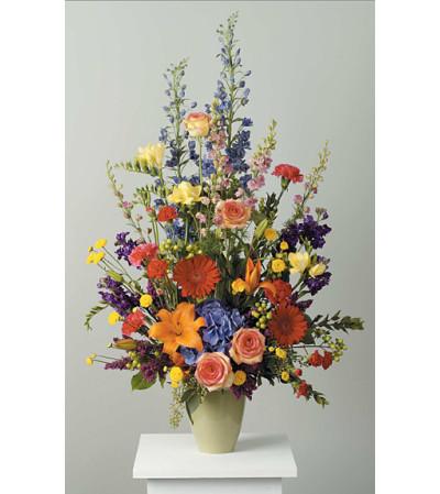 Polychromatic  Stylized Vase Arrangement
