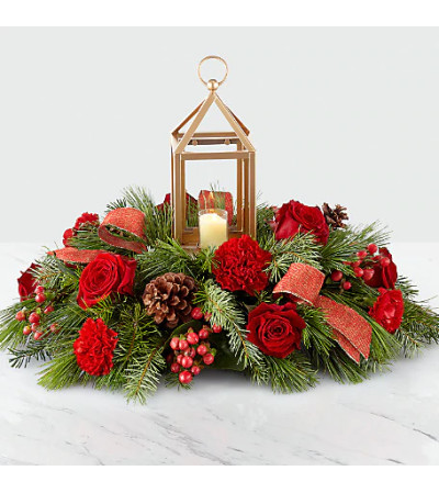 I'LL BE HOME FOR CHRISTMAS LANTERN CENTERPIECE BOUQUET