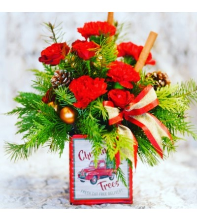 Merry Vintage Christmas Truck Bouquet