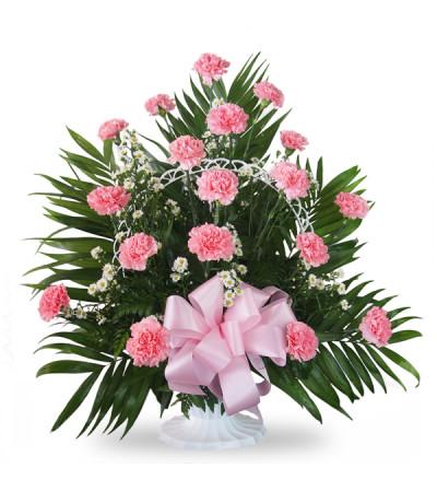Floor Basket-Carnations-Pink