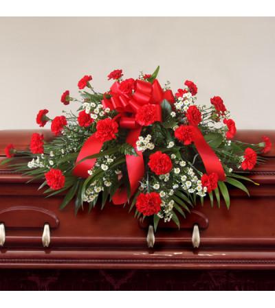 Red Carnation Casket Spray