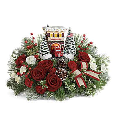 Thomas Kinkade Fire Station Christmas Bouquet