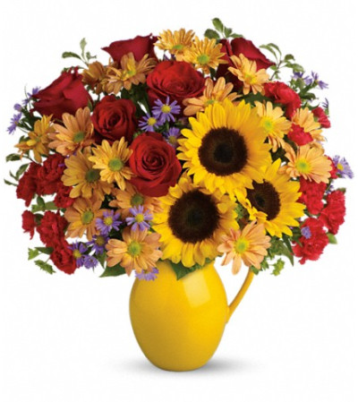 Teleflora's Sunny Day Pitcher of Joy
