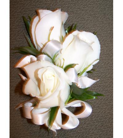White Rose and Satin Ribbon Corsage