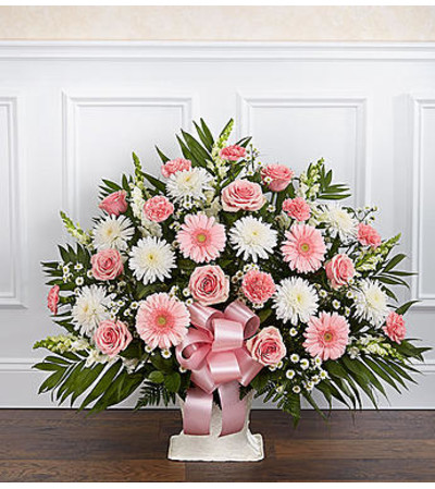 Heartfelt Tribute Pink & White Floor Basket
