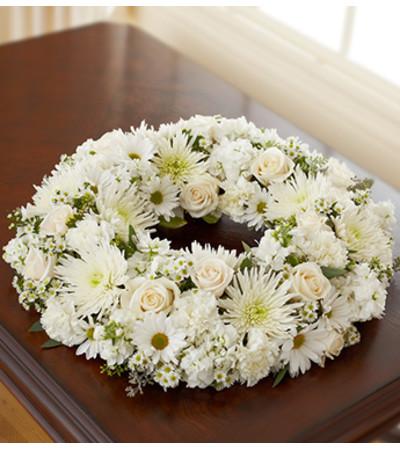 White Cremation Wreath