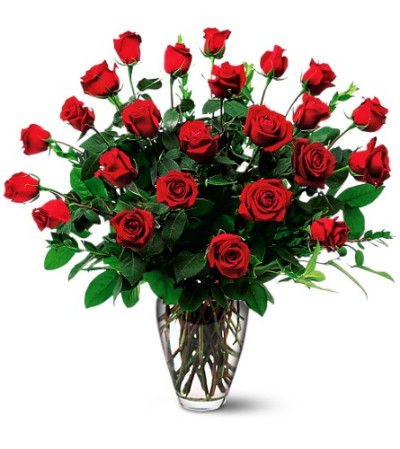 2 dozen roses Vased