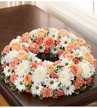 Cremation Wreath - Peach, Orange and White