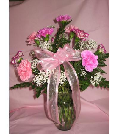 Dozen Carnations Arranged in Vase