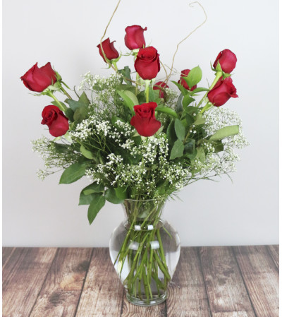Rudy's Classic Red Rose Arrangement with Baby's Breath