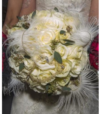 White Rose and Feather Bouquet