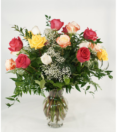 Romantic Mixed Roses Arrangement