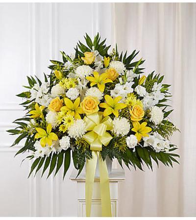 Heartfelt Sympathies™ Yellow Standing Basket