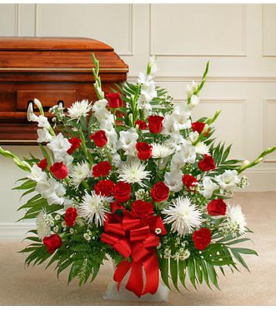 Red White Mache Sympathy Basket