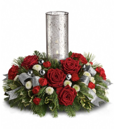 Teleflora's Snow-Kissed Roses Centerpiece