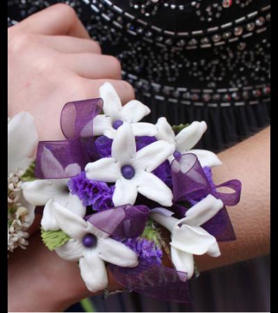 Purple Stephanotis Corsage