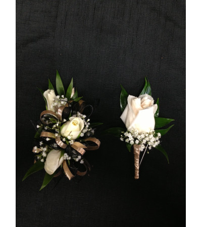 Ivory Rose Corsage Set