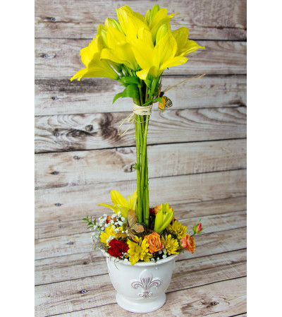 Yellow Lilly Topiary Arrangment