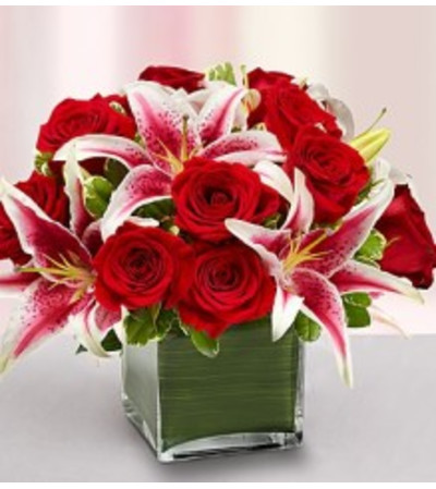 Modern Embrace - Red Rose & Lily Cube