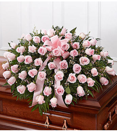 Pink Rose Half Casket Cover