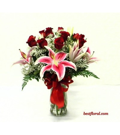 RED ROSES LILIES
