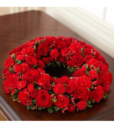 Red Cremation Wreath