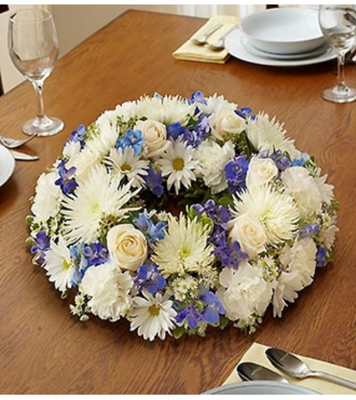 Blue and White Wreath Centerpiece