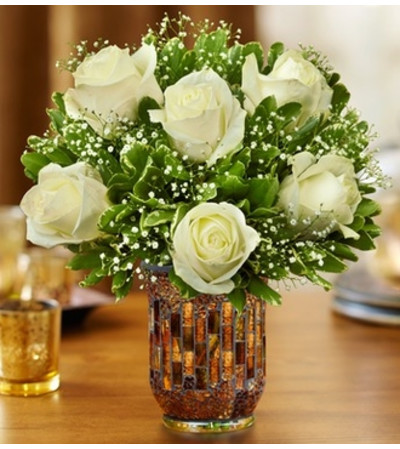 Roses in a Mosaic Vase - White