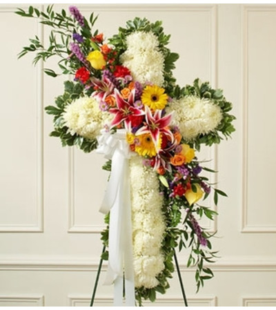 White Standing Cross with Bright Flower Break