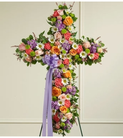 Pastel Mixed Flower Standing Cross