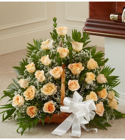 Peach, Orange, and White Rose Fireside Basket