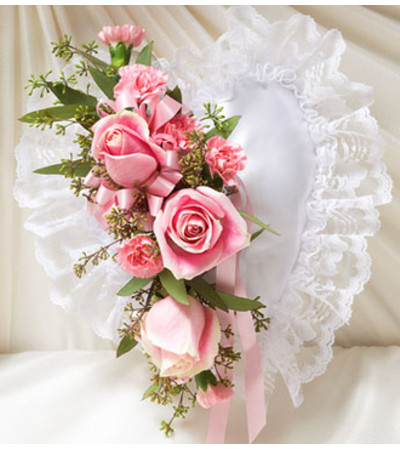 Pink Satin Heart Casket Pillow