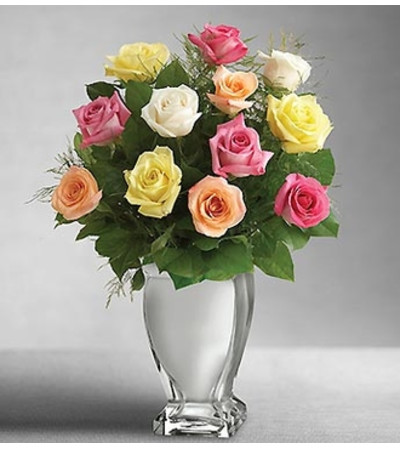 Premium Long Stem Multi Roses in Silver Vase