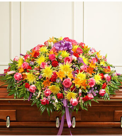 Bright Mixed Flower Full Casket Cover