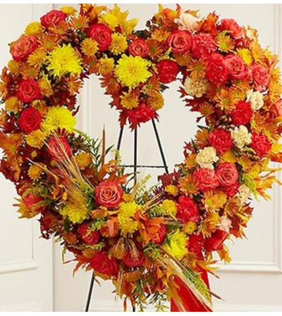 Standing Open Heart in Fall Colors